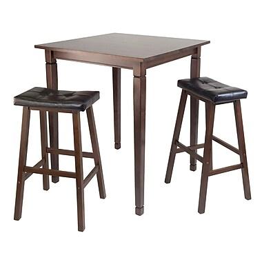Winsome – Ensemble 3 pièces de la collection Kingsgate avec table à manger haute de style pub, fini noyer antique
