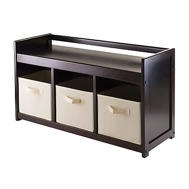 Winsome Addison 4-Piece Storage Bench Set with 3 Foldable Fabric Baskets
