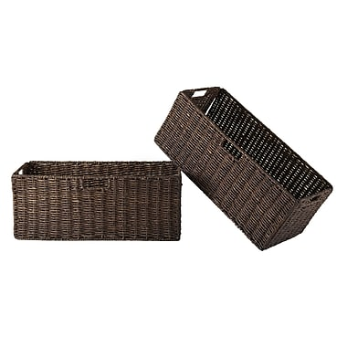 Winsome Granville Foldable Corn Husk Baskets, Chocolate