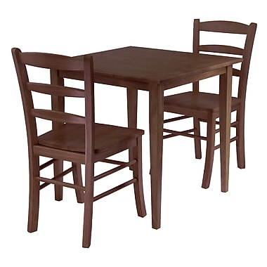 Winsome – Ensemble 3 pièces avec table à manger carrée de la collection Groveland, fini noyer antique