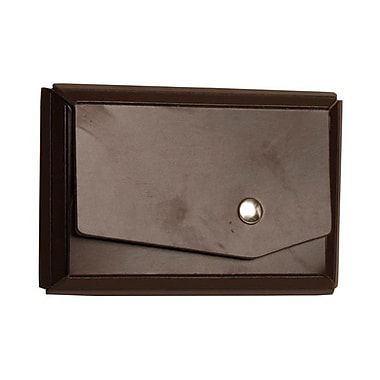 Jam Paper® Leather Business Card Case With Angular Flap, Dark Brown