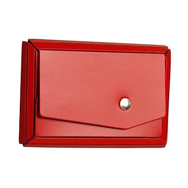 Jam Paper® Leather Business Card Case With Angular Flap, Red