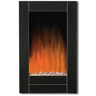 Modern Homes Wall Mount Fireplace with Bevel Edge and Pebbles, Black