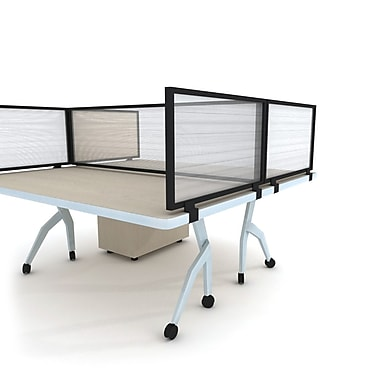 OBEX Polycarbonate Desk Mount Privacy Panel with Black Frame, Translucent