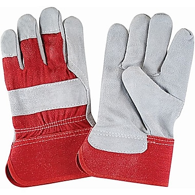 Zenith Safety Split Cowhide Fitters Gloves, Rubberized Cuff, Large, 36/Pack