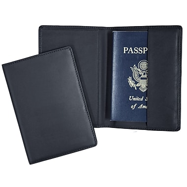 Royce Leather – Pochette pour passeport, bleu