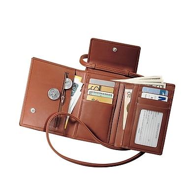 Royce Leather – Étui pour passeport avec bandoulière amovible, havane