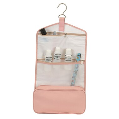 Royce Leather Full Grain Hanging Toiletry Bag, Carnation Pink