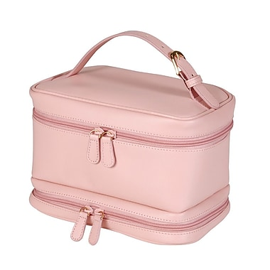 Royce Leather Cosmetic Travel Bag in Genuine Leather, Carnation Pink