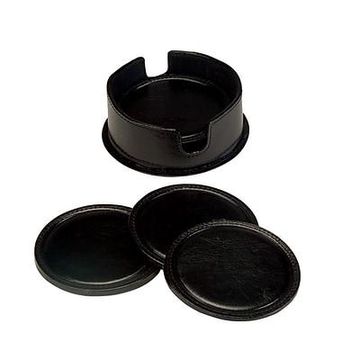Royce Leather– Sous-verres rond (6) en cuir avec étui en cuir, noir