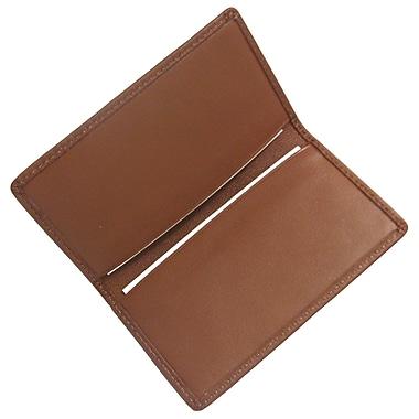 Royce – Étui pour cartes professionnelles classique en cuir, havane