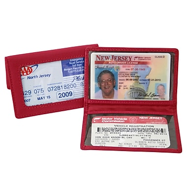 Royce Leather Tri-View ID Holder Card Case, Red