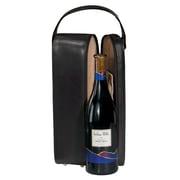 Royce – Étui de transport à vin une bouteille en cuir avec doublure en suède, cuir véritable, noir