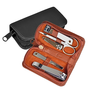 Royce Leather Deluxe Chrome Plated Mini-Manicure Kit, Tan