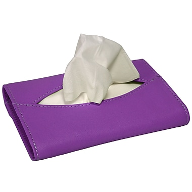 Royce Leather Mini Tissue Holder, Purple