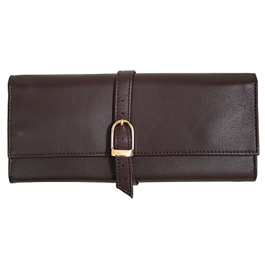 Royce Leather Suede Lined Jewellery Roll, Burgundy