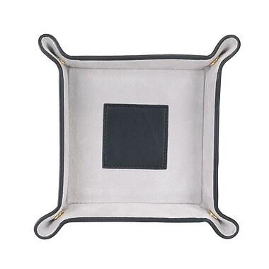 Royce Leather – Plateau de rangement en suède, noir et gris