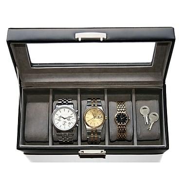 Royce Leather – Coffret de rangement pour montres, 5 compartiments, brun