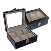 Royce Leather Suede Lined Leather Watch box, 6 Slot, Black