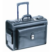 "Mancini 17"" Deluxe Genuine Leather Wheeled Catalog Case, Black"