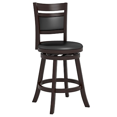 CorLiving™ Woodgrove Cushion Back Wooden Barstools, Espresso Black Leatherette