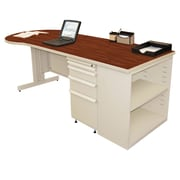 "Marvel® Zapf® Pumice 87"" x 30"" Laminate Teachers Conference Desks W/Bookcase"