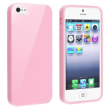 Insten® TPU Rubber Skin Case For Apple iPhone 5/5S, Light Pink Jelly