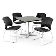 OFM ? Table carrée de 36 po au fini gris nébuleux avec plateau repliable et 4 chaises