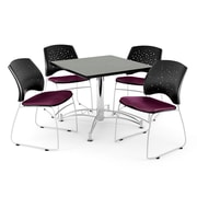 """OFM 42"""" Square Multi-Purpose Gray Nebula Table With 4 Chairs"""