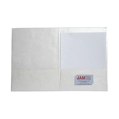 JAM PaperMD – Chemises en fibres de coton recyclé faites à la main en Inde, 9 x 12 po, blanc métallique, paquet de 500