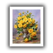 """ArtWall """"Roses in a Silver Vase"""" Unwrapped Canvas Arts By Albert Williams"""
