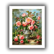 """ArtWall """"English Elegance Roses in a Silver Vase"""" Unwrapped Canvas Arts By Albert Williams"""