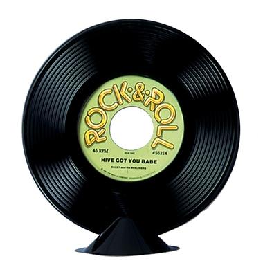 Centre de table, disque vinyle en plastique, 9 po, paq./4