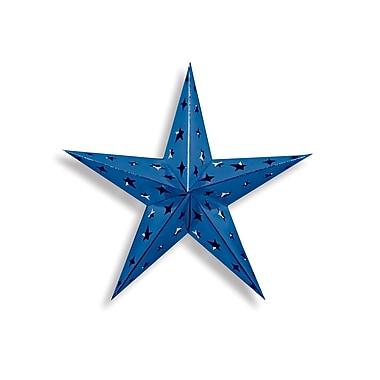 Étoile 3 dimensions en aluminium, bleu, 4/paquet