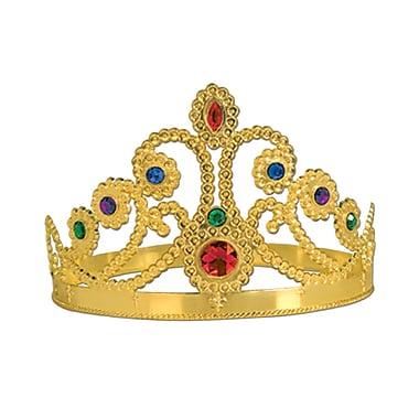 Diadème de la reine orné de pierreries, en plastique, taille unique, doré, paq./4