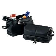 Royce Leather – Sac de toilette avec fermeture à glissière dans le compartiment inférieur, noir
