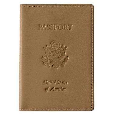 Royce Leather – Pochette pour passeport avec gravures, havane