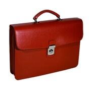 Royce Leather – Mallette à simple soufflet, rouge
