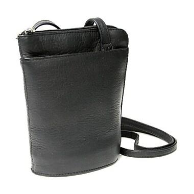 Royce Leather – Petit sac à bandoulière en cuir Vaquetta, à fermeture à glissière, noir