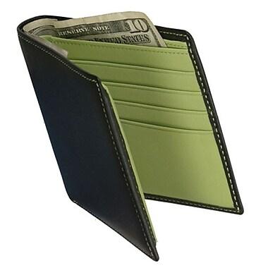 Royce Leather – Portefeuilles avec pièce d'identité à double rabat, vert lime