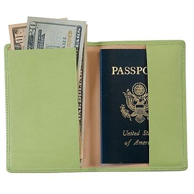 Royce Leather – Pochette pour passeport estampé en aluminium, vert lime