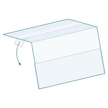 KostklipMD – Porte-étiquette ShelfTalkerMC en angle à fixation supérieure, ruban transparent, paquet de 25