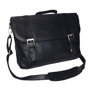 Royce Leather – Mallette pour ordinateur portatif en cuir Vaquetta, 3 compartiments, noir