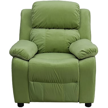 Flash Furniture – Fauteuil contemporain de luxe rembourré et inclinable en microfibre pour enfants, rangement accoudoirs