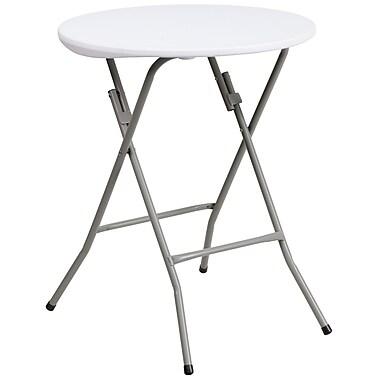 Flash Furniture – Table pliante ronde de 24 po en plastique, blanc granite