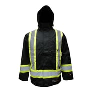 Viking Professional Journeyman 300D FR Waterproof Insulated Safety Rain Jackets, Black