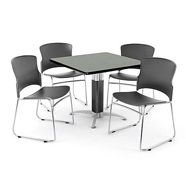 OFM ? Table carrée et polyvalente de 42 po en stratifié gris nébuleux avec 4 chaises (PKG-BRK-030-0005)