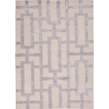 Jaipur City Silver Gray Geometric Area Rug Wool & Art Silk