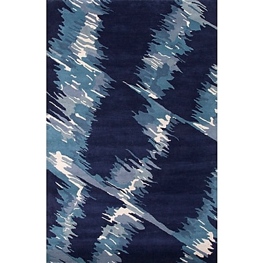 Jaipur Hand-Tufted Abstract Pattern Wool Blue Area Rug 100% Wool 5' x 8'