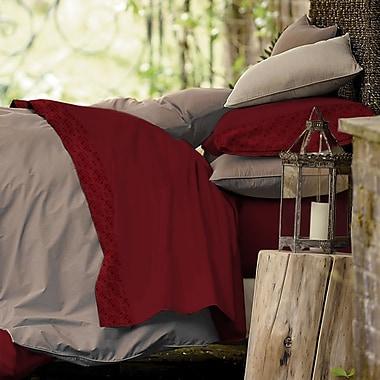 Blanc De Blancs - Ensemble de draps CVC 1 000 fils au pouce, bordure en Jacquard, rouge